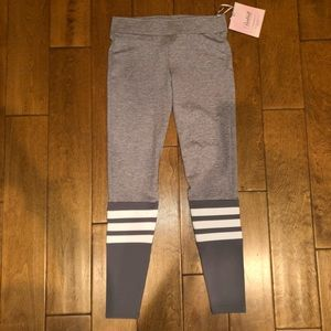 Gray and white striped leggings